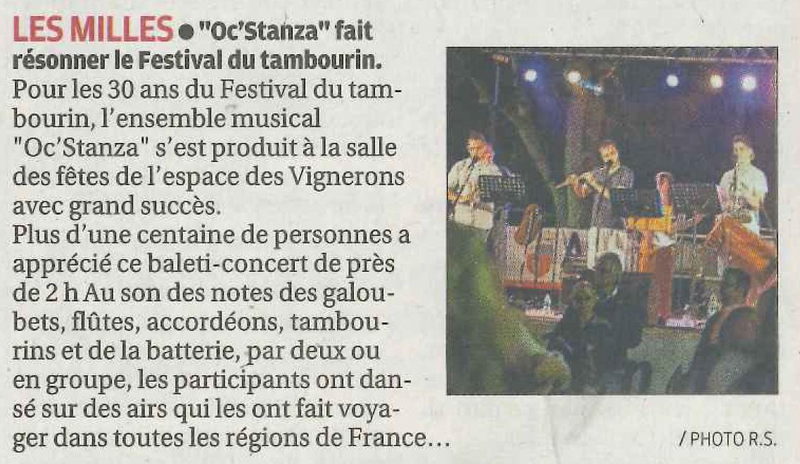 Article La Provence 11 avril 2016 - Oc Stanza Festival du Tambourin
