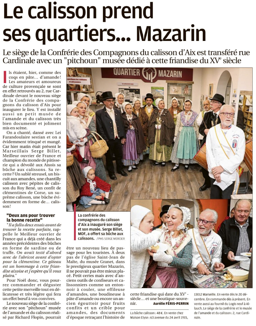 Articles La Provence Inauguration Pichoun Musée Calisson d'Aix 2018