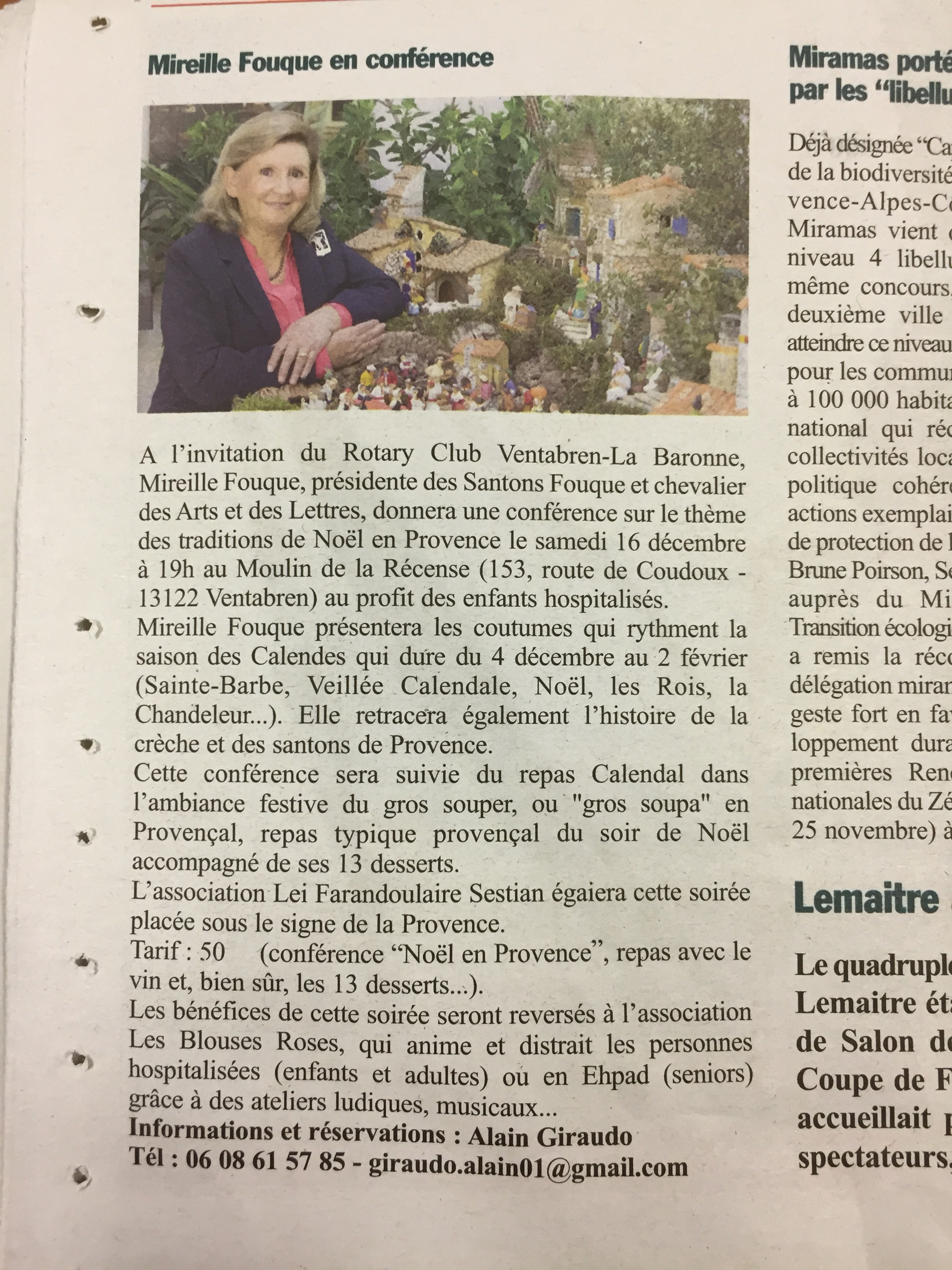 Article La Provence - Animation Calendale Rotary Club Ventabren 2017